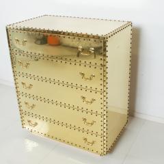 Sarreid Ltd Splashy BRASS Studded Highboy Dresser by SARREID Ltd of Spain 1970s Hip Regency - 2019059