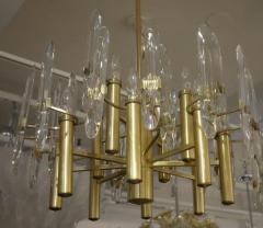Sciolari Lighting Italian Mid Century Sciolari 12 Light Brass and Crystal Chandelier - 769282