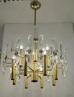 Sciolari Lighting Italian Mid Century Sciolari 12 Light Brass and Crystal Chandelier - 769285