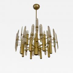 Sciolari Lighting Italian Mid Century Sciolari 12 Light Brass and Crystal Chandelier - 770696