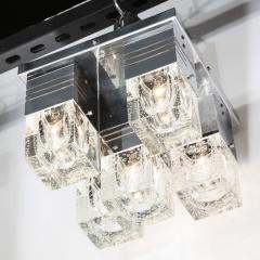 Sciolari Lighting Mid Century Modern Chrome and Murano Glass 5 Light Flushmount by Sciolari - 1648831