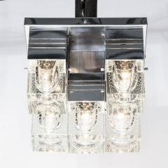 Sciolari Lighting Mid Century Modern Chrome and Murano Glass 5 Light Flushmount by Sciolari - 1648836