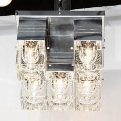 Sciolari Lighting Mid Century Modern Chrome and Murano Glass 5 Light Flushmount by Sciolari - 1648888