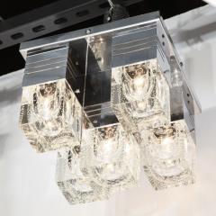 Sciolari Lighting Mid Century Modern Chrome and Murano Glass 5 Light Flushmount by Sciolari - 1648890