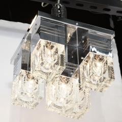 Sciolari Lighting Mid Century Modern Chrome and Murano Glass 5 Light Flushmount by Sciolari - 1648893