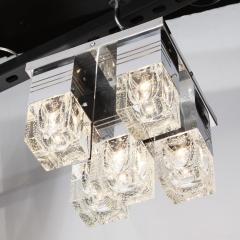 Sciolari Lighting Mid Century Modern Chrome and Murano Glass 5 Light Flushmount by Sciolari - 1648895