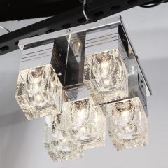 Sciolari Lighting Mid Century Modern Chrome and Murano Glass 5 Light Flushmount by Sciolari - 1648897