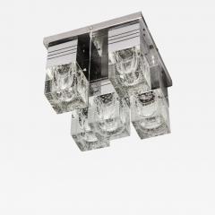 Sciolari Lighting Mid Century Modern Chrome and Murano Glass 5 Light Flushmount by Sciolari - 1650372