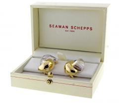 Seaman Schepps Seaman Schepps Gold and Rock Crystal Large Half Link Earrings - 1012039