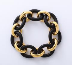 Seaman Schepps Vintage Seaman Schepps Gold and Ebony Classic Petit Link Bracelet - 1012200