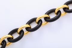 Seaman Schepps Vintage Seaman Schepps Gold and Ebony Classic Petit Link Bracelet - 1012206