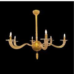 Seguso Italian Modern Handblown Gold Glass 6 Arm Stellare Chandelier Seguso - 2094146