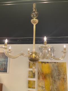 Seguso Italian Modern Handblown Gold Glass 6 Arm Stellare Chandelier Seguso - 2094153