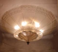Seguso Large Mid Century Modern Murano Glass Flush Mount Chandelier Seguso St Italy 60s - 2132089