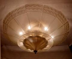 Seguso Large Mid Century Modern Murano Glass Flush Mount Chandelier Seguso St Italy 60s - 2132090