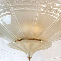 Seguso Large Mid Century Modern Murano Glass Flush Mount Chandelier Seguso St Italy 60s - 2132094