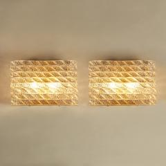 Seguso Large pair of Italian 50s Seguso Murano rectangular glass and brass wall lights - 1964467