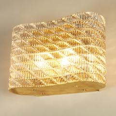 Seguso Large pair of Italian 50s Seguso Murano rectangular glass and brass wall lights - 1964514
