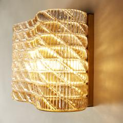 Seguso Large pair of Italian 50s Seguso Murano rectangular glass and brass wall lights - 1964516