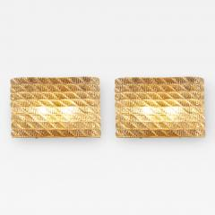 Seguso Large pair of Italian 50s Seguso Murano rectangular glass and brass wall lights - 1966870