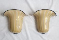 Seguso Mid Century Modern beige Murano glass neoclassical sconces Seguso style Italy - 2007208