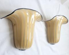 Seguso Mid Century Modern beige Murano glass neoclassical sconces Seguso style Italy - 2007209