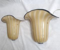 Seguso Mid Century Modern beige Murano glass neoclassical sconces Seguso style Italy - 2007213