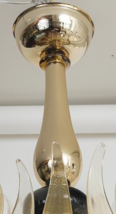 Seguso Modern Murano Blown Mercury Gold Ten Arm Uplight Chandelier by Seguso - 1643461