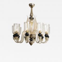 Seguso Modern Murano Blown Mercury Gold Ten Arm Uplight Chandelier by Seguso - 1645396
