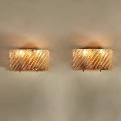 Seguso Pair of Italian 50s Seguso Murano curved rectangular glass and brass wall lights - 1964468