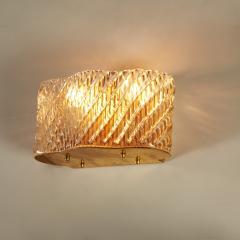 Seguso Pair of Italian 50s Seguso Murano curved rectangular glass and brass wall lights - 1964507