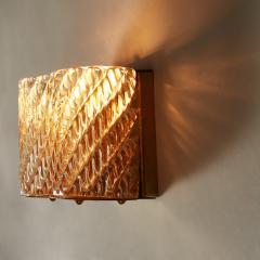 Seguso Pair of Italian 50s Seguso Murano curved rectangular glass and brass wall lights - 1964512