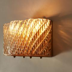 Seguso Pair of Italian 50s Seguso Murano curved rectangular glass and brass wall lights - 1964513
