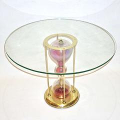 Seguso Vetri dArte Seguso Vetri dArte 1960s Italian Brass and Pink Glass Round Side End Table - 636330