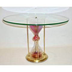 Seguso Vetri dArte Seguso Vetri dArte 1960s Italian Brass and Pink Glass Round Side End Table - 636333