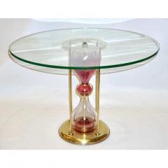 Seguso Vetri dArte Seguso Vetri dArte 1960s Italian Brass and Pink Glass Round Side End Table - 636334