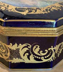 Sevres Manufacture Nationale de S vres 19th Century French Sevres Cobalt Porcelain and Gilt Bronze Casket Jewelry Box - 1241668