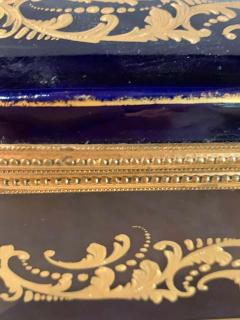 Sevres Manufacture Nationale de S vres 19th Century French Sevres Cobalt Porcelain and Gilt Bronze Casket Jewelry Box - 1241670