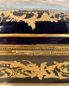 Sevres Manufacture Nationale de S vres 19th Century French Sevres Cobalt Porcelain and Gilt Bronze Casket Jewelry Box - 1241671