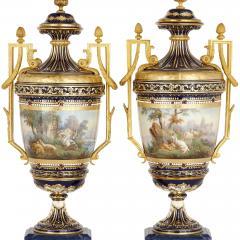 Sevres Manufacture Nationale de S vres Lapis lazuli gilt bronze and porcelain three piece clock set - 1256099