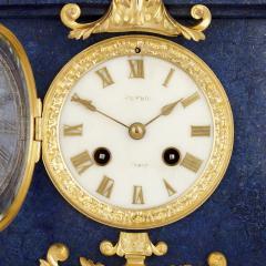 Sevres Manufacture Nationale de S vres Lapis lazuli gilt bronze and porcelain three piece clock set - 1256100