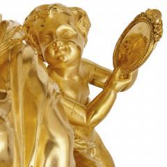Sevres Manufacture Nationale de S vres Lapis lazuli gilt bronze and porcelain three piece clock set - 1256101