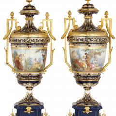Sevres Manufacture Nationale de S vres Lapis lazuli gilt bronze and porcelain three piece clock set - 1256104