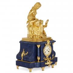 Sevres Manufacture Nationale de S vres Lapis lazuli gilt bronze and porcelain three piece clock set - 1256105