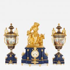 Sevres Manufacture Nationale de S vres Lapis lazuli gilt bronze and porcelain three piece clock set - 1257151