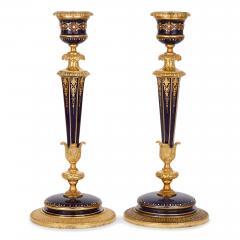 Sevres Manufacture Nationale de S vres S vres style gilt bronze mounted porcelain clock set - 1274501