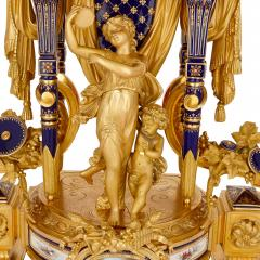Sevres Manufacture Nationale de S vres S vres style gilt bronze mounted porcelain clock set - 1274505