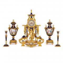 Sevres Manufacture Nationale de S vres S vres style gilt bronze mounted porcelain clock set - 1274506