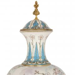 Sevres Manufacture Nationale de S vres Two large gilt bronze mounted Rococo style white porcelain vases - 1274575
