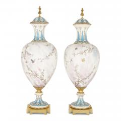 Sevres Manufacture Nationale de S vres Two large gilt bronze mounted Rococo style white porcelain vases - 1274579